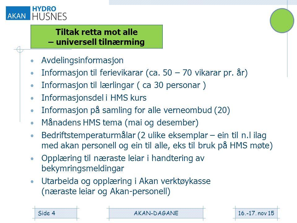Avdelingsinformasjon Informasjon til ferievikarar (ca.
