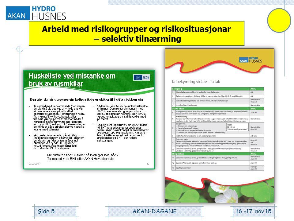 16.-17. nov 15AKAN-DAGANESide 5 Arbeid med risikogrupper og risikosituasjonar – selektiv tilnærming