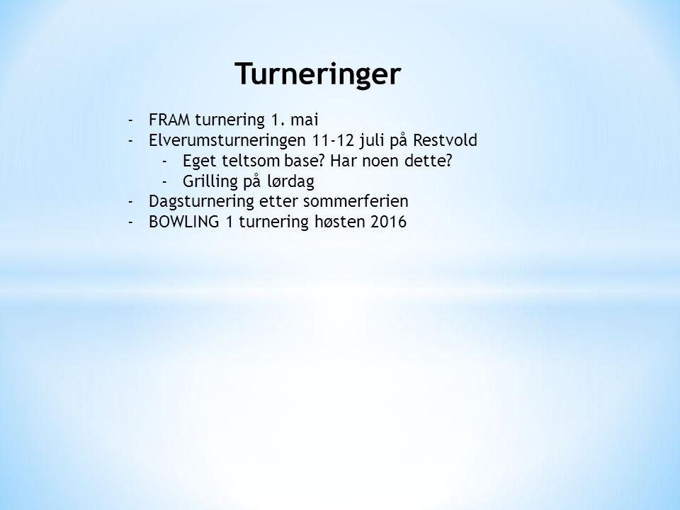 Turneringer -FRAM turnering 1. mai -Elverumsturneringen 11-12 juli på Restvold -Eget teltsom base.
