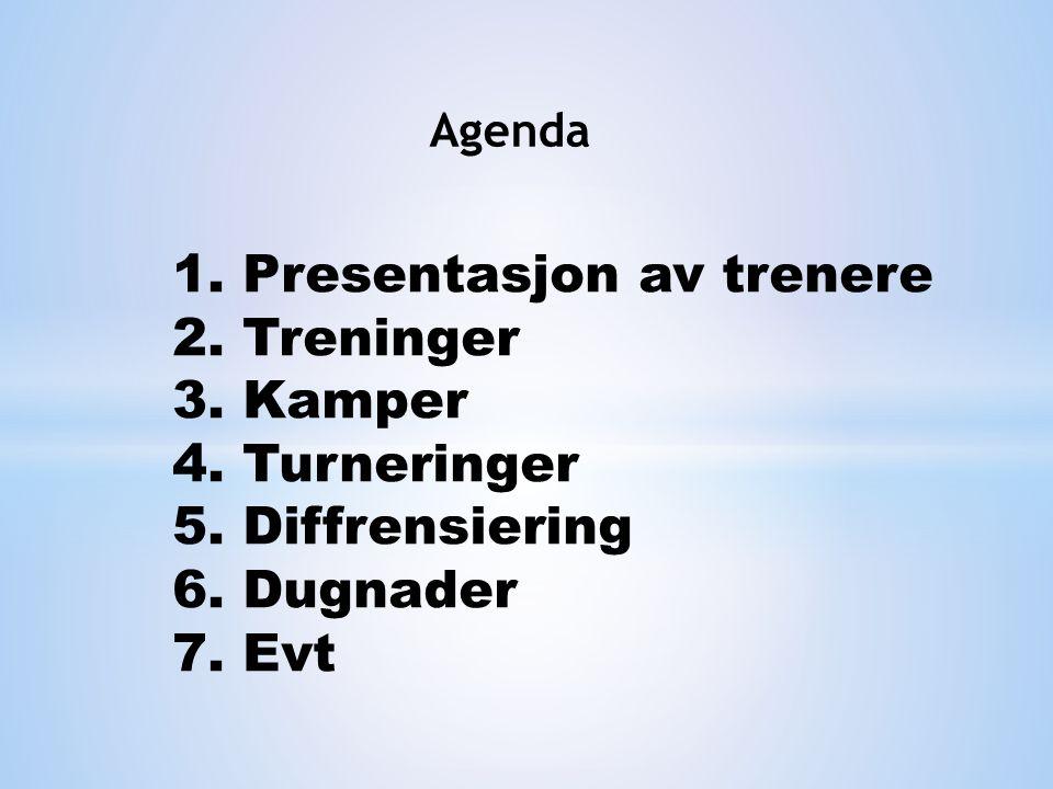Agenda 1. Presentasjon av trenere 2. Treninger 3.