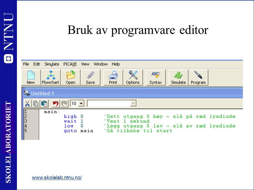 11 SKOLELABORATORIET Bruk av programvare editor www.skolelab.ntnu.no/