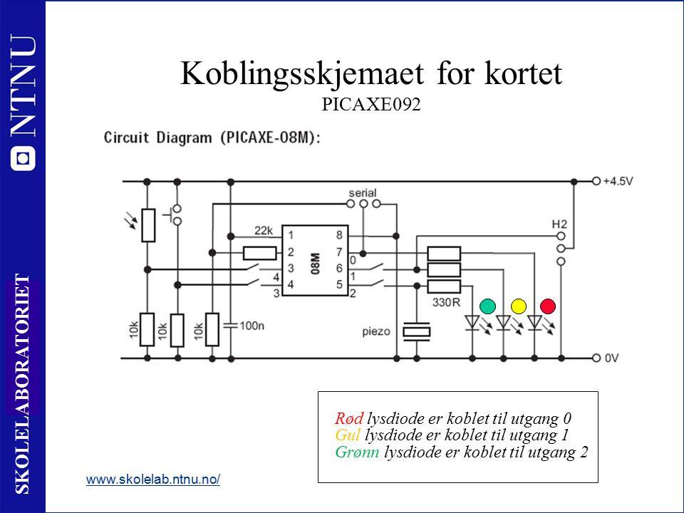 21 SKOLELABORATORIET Koblingsskjemaet for kortet PICAXE092 www.skolelab.ntnu.no/ Nyttige opplysninger: - Rød lysdiode er koblet til utgang 0 - Gul lysdiode er koblet til utgang 1 - Grønn lysdiode er koblet til utgang 2