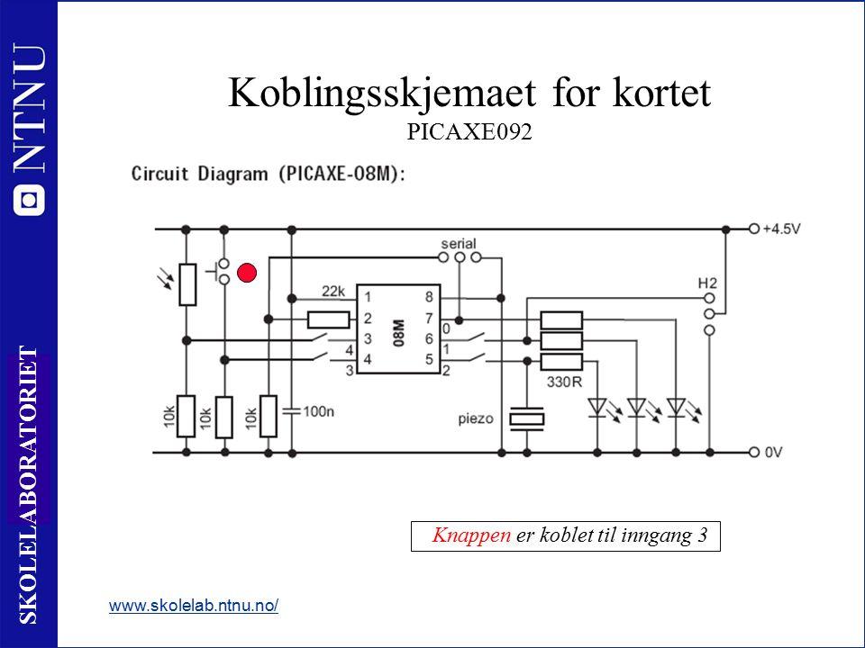 25 SKOLELABORATORIET Koblingsskjemaet for kortet PICAXE092 www.skolelab.ntnu.no/ - Knappen er koblet til inngang 3