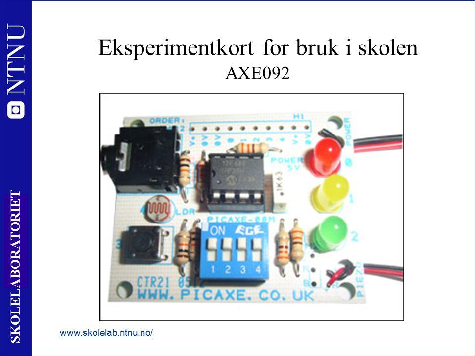 7 SKOLELABORATORIET Mikrokontroller 8 pin www.skolelab.ntnu.no/ +4,5V 1 0V 8 Intern hukommelse Databehandlingsenhet Innganger Utganger In 4 3 4 In 3 Out 2 5 Out 1 6 7 Inngang 0 til +V (0 eller 1) ADC leser verdien av en spenning IR – Leser info fra fjernkontroll Utgang 0 til +V (0 eller 1) Tune - lydutgang