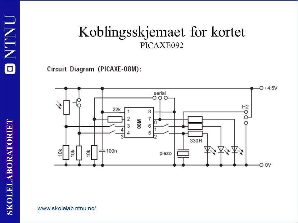 29 SKOLELABORATORIET Koblingsskjemaet for kortet PICAXE092 www.skolelab.ntnu.no/ - Buzzeren er koblet til utgang 2