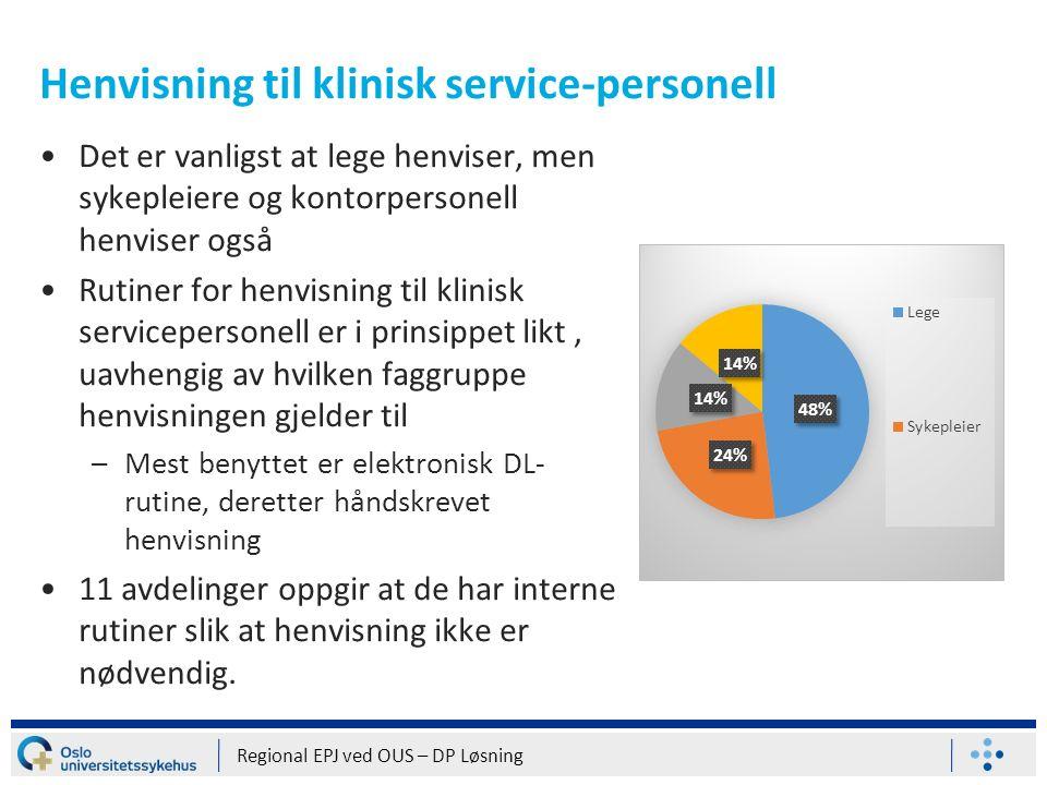 Henvisning til klinisk service-personell Det er vanligst at lege henviser, men sykepleiere og kontorpersonell henviser også Rutiner for henvisning til