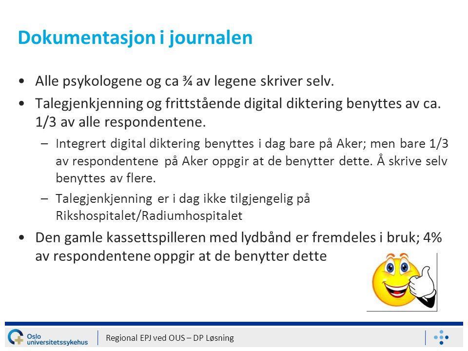 Dokumentasjon i journalen Alle psykologene og ca ¾ av legene skriver selv. Talegjenkjenning og frittstående digital diktering benyttes av ca. 1/3 av a