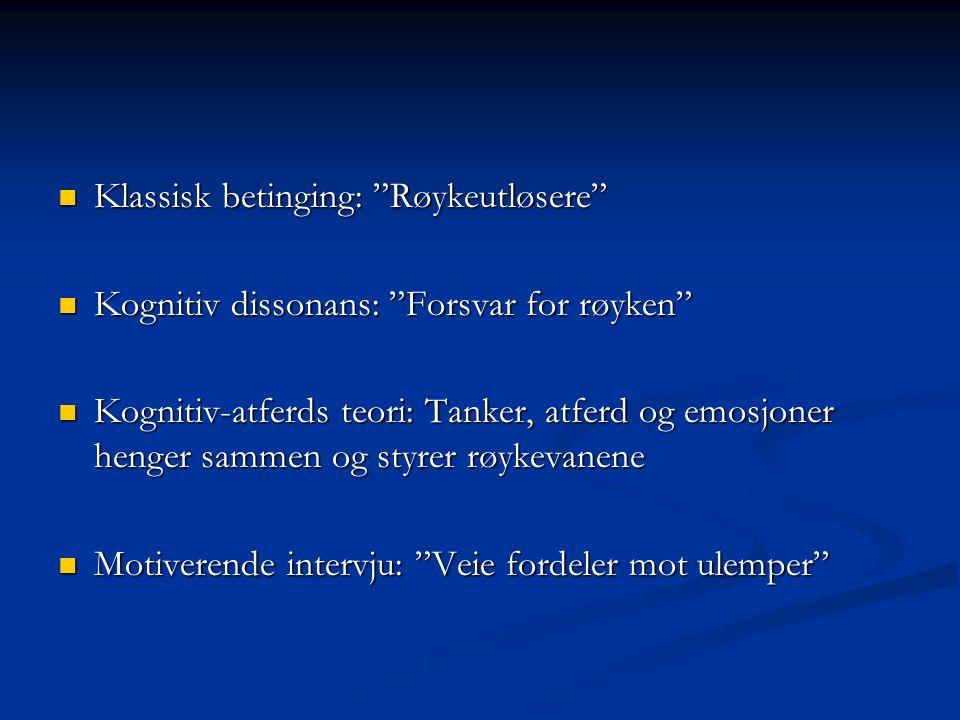 Klassisk betinging: Røykeutløsere Klassisk betinging: Røykeutløsere Kognitiv dissonans: Forsvar for røyken Kognitiv dissonans: Forsvar for røyken Kognitiv-atferds teori: Tanker, atferd og emosjoner henger sammen og styrer røykevanene Kognitiv-atferds teori: Tanker, atferd og emosjoner henger sammen og styrer røykevanene Motiverende intervju: Veie fordeler mot ulemper Motiverende intervju: Veie fordeler mot ulemper