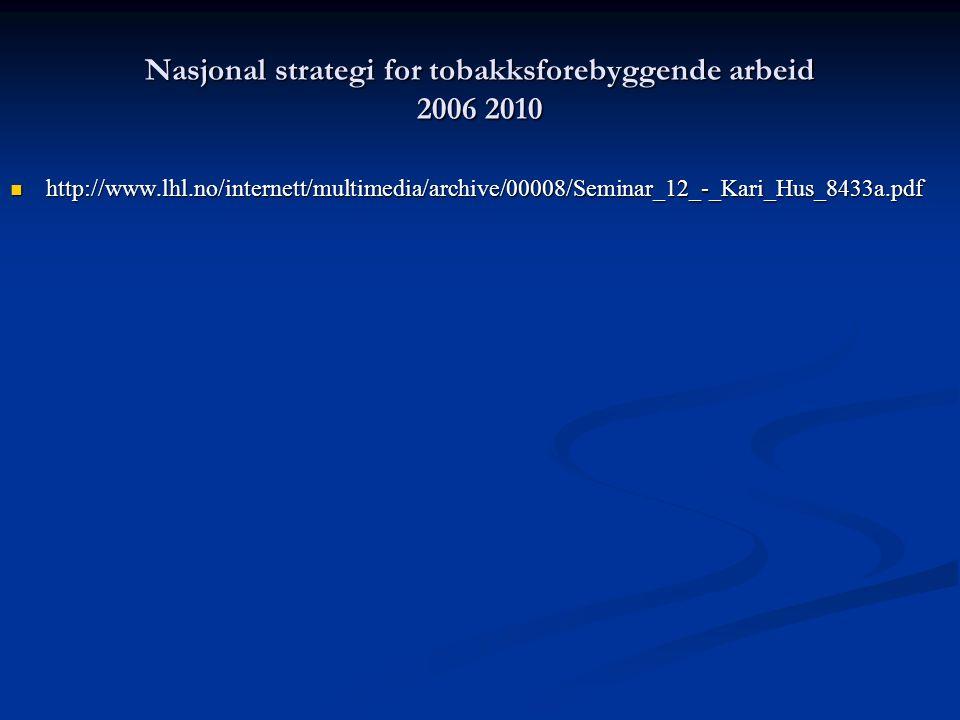 Nasjonal strategi for tobakksforebyggende arbeid 2006 2010 http://www.lhl.no/internett/multimedia/archive/00008/Seminar_12_-_Kari_Hus_8433a.pdf http://www.lhl.no/internett/multimedia/archive/00008/Seminar_12_-_Kari_Hus_8433a.pdf