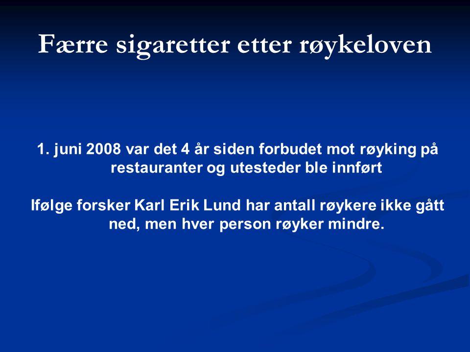 1.juni 2008 var det 4 år siden forbudet mot røyking på restauranter og utesteder ble innført Ifølge forsker Karl Erik Lund har antall røykere ikke gått ned, men hver person røyker mindre.