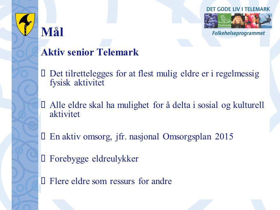 Mål Aktiv senior Telemark  Det tilrettelegges for at flest mulig eldre er i regelmessig fysisk aktivitet  Alle eldre skal ha mulighet for å delta i sosial og kulturell aktivitet  En aktiv omsorg, jfr.