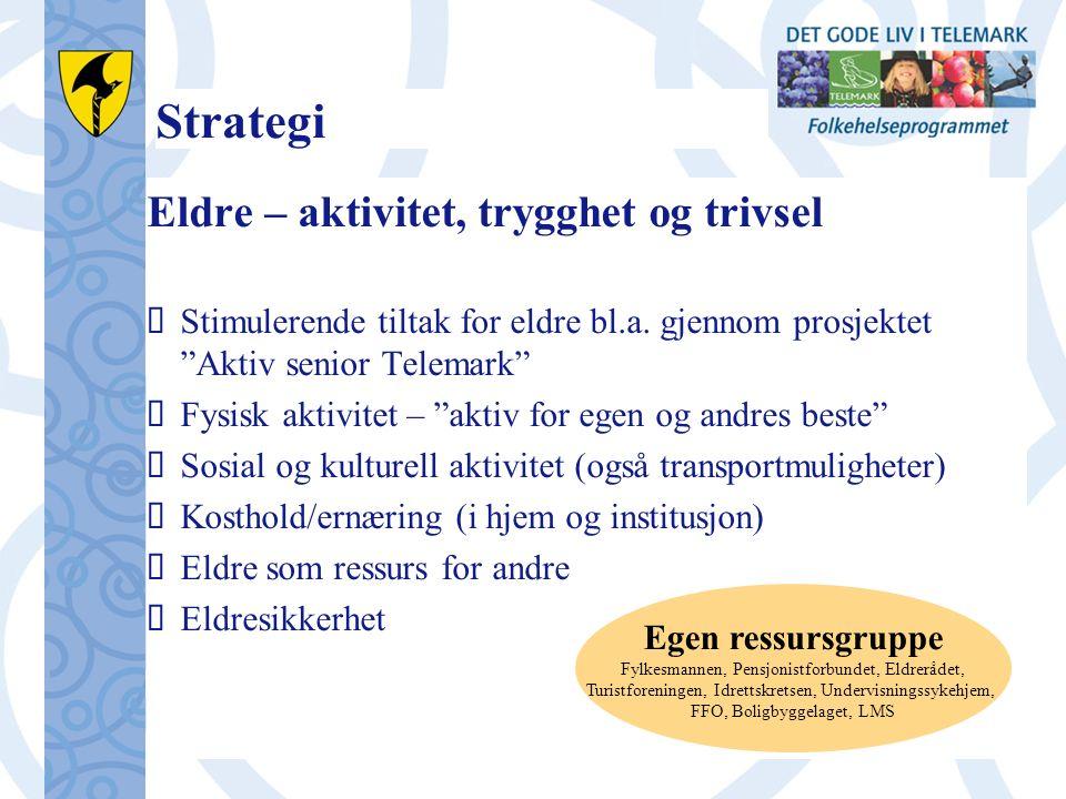 Strategi Eldre – aktivitet, trygghet og trivsel  Stimulerende tiltak for eldre bl.a.