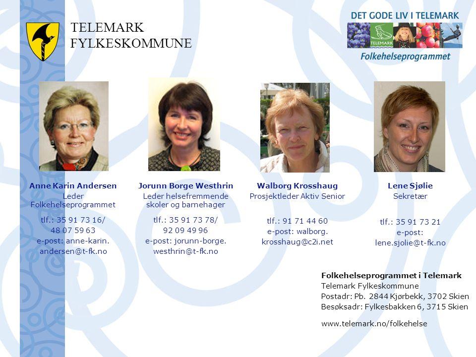 TELEMARK FYLKESKOMMUNE Anne Karin Andersen Leder Folkehelseprogrammet tlf.: 35 91 73 16/ 48 07 59 63 e-post: anne-karin.