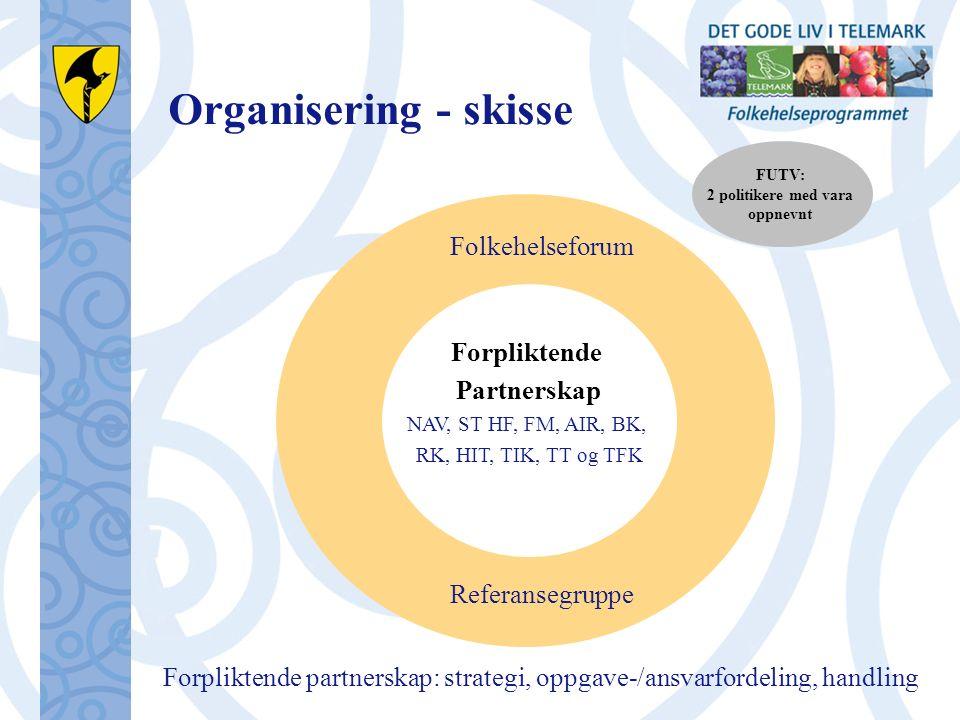 Organisering - skisse Forpliktende Partnerskap NAV, ST HF, FM, AIR, BK, RK, HIT, TIK, TT og TFK Folkehelseforum Referansegruppe Forpliktende partnerskap: strategi, oppgave-/ansvarfordeling, handling FUTV: 2 politikere med vara oppnevnt