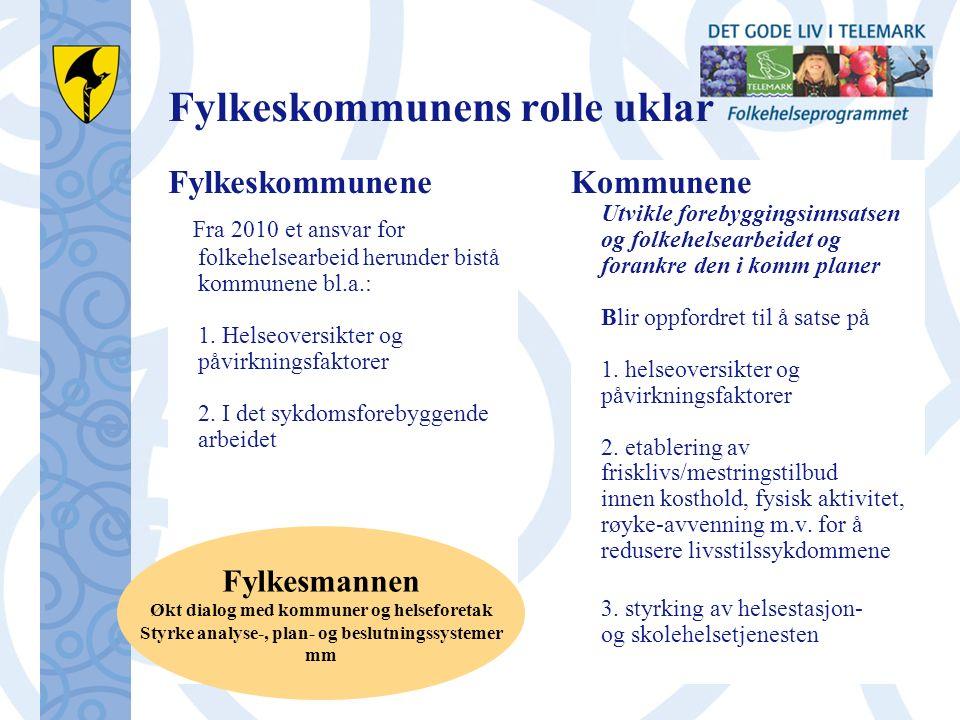 Fylkeskommunens rolle uklar Fylkeskommunene Fra 2010 et ansvar for folkehelsearbeid herunder bistå kommunene bl.a.: 1.