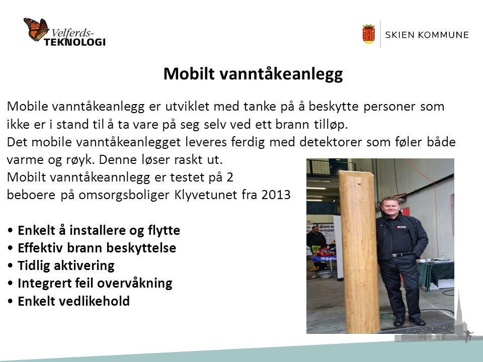 Erfaringer med mobilt vanntåkeanlegg Evaluering fra arbeidet knyttet til brukerne: Vanntåke anlegget ble implementert for ca.