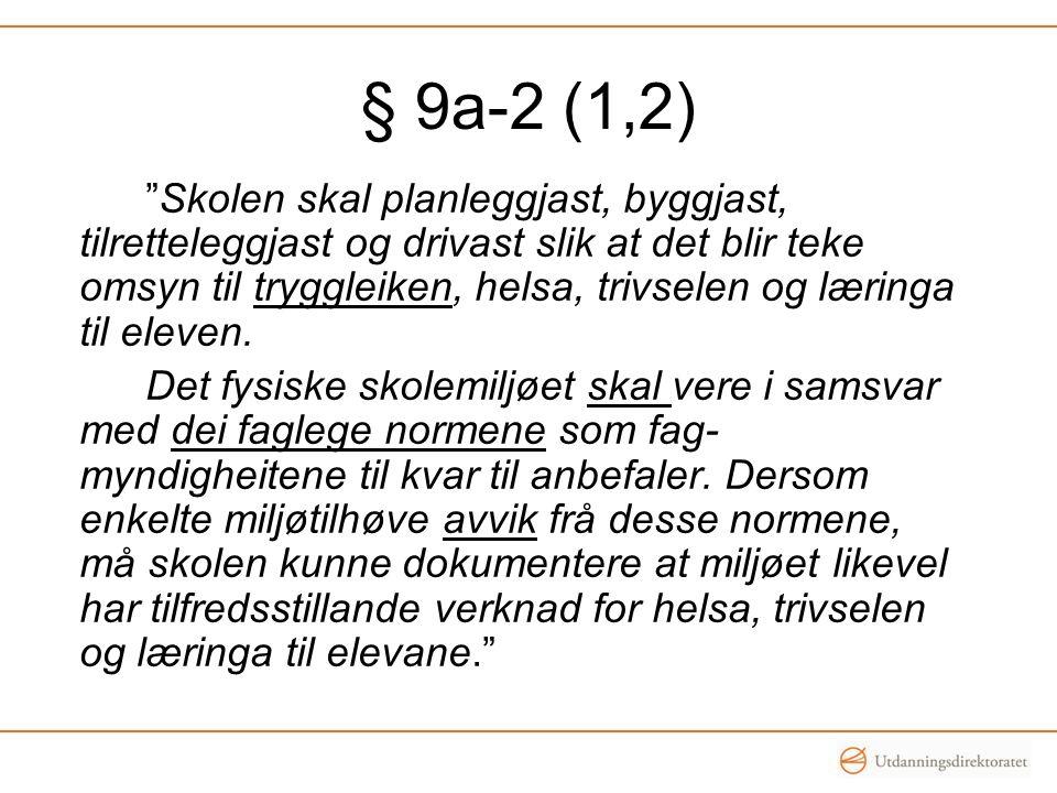 § 9a-2 (1,2) Skolen skal planleggjast, byggjast, tilretteleggjast og drivast slik at det blir teke omsyn til tryggleiken, helsa, trivselen og læringa til eleven.