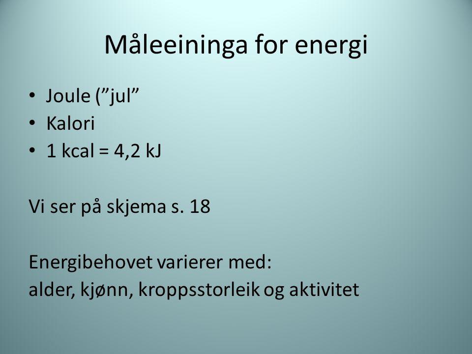 """Måleeininga for energi Joule (""""jul"""" Kalori 1 kcal = 4,2 kJ Vi ser på skjema s. 18 Energibehovet varierer med: alder, kjønn, kroppsstorleik og aktivite"""