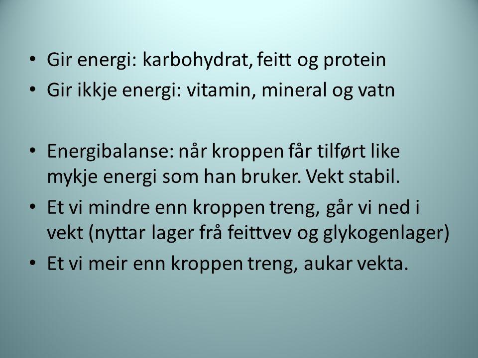 Gir energi: karbohydrat, feitt og protein Gir ikkje energi: vitamin, mineral og vatn Energibalanse: når kroppen får tilført like mykje energi som han