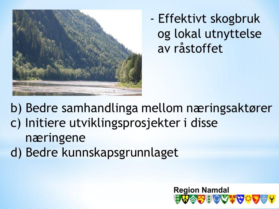 - Effektivt skogbruk og lokal utnyttelse av råstoffet b) Bedre samhandlinga mellom næringsaktører c) Initiere utviklingsprosjekter i disse næringene d) Bedre kunnskapsgrunnlaget