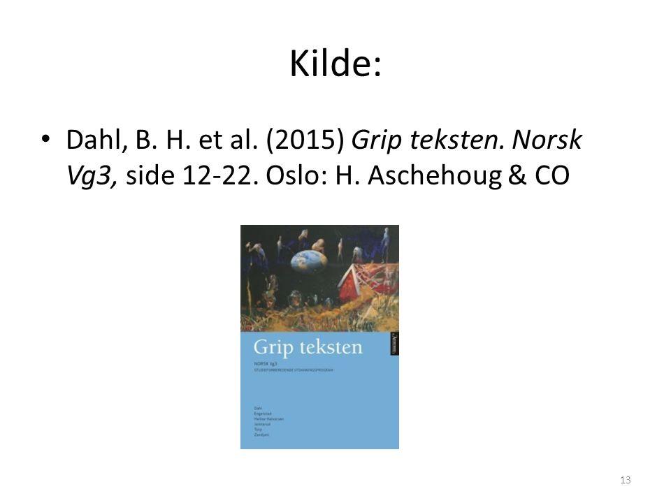 Kilde: Dahl, B. H. et al. (2015) Grip teksten. Norsk Vg3, side 12-22. Oslo: H. Aschehoug & CO 13