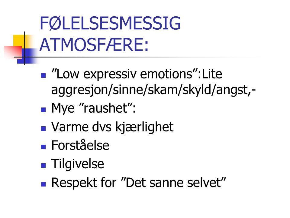 FØLELSESMESSIG ATMOSFÆRE: Low expressiv emotions :Lite aggresjon/sinne/skam/skyld/angst,- Mye raushet : Varme dvs kjærlighet Forståelse Tilgivelse Respekt for Det sanne selvet