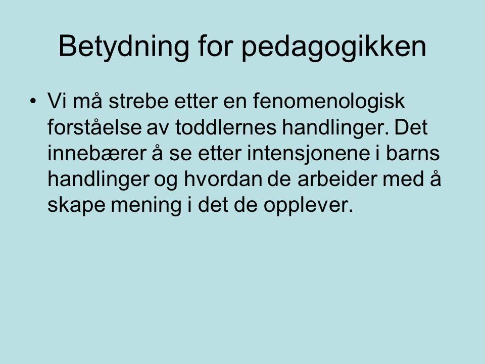 Betydning for pedagogikken Vi må strebe etter en fenomenologisk forståelse av toddlernes handlinger.
