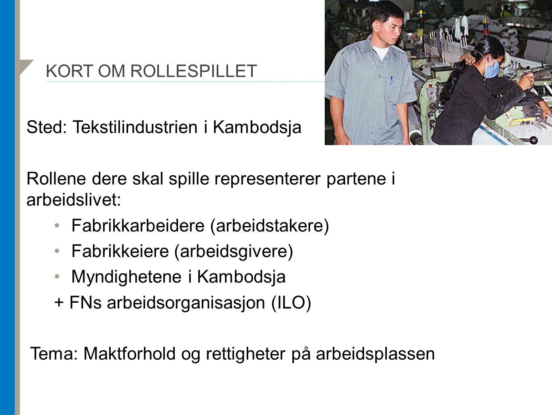 KORT OM ROLLESPILLET Sted: Tekstilindustrien i Kambodsja Rollene dere skal spille representerer partene i arbeidslivet: Fabrikkarbeidere (arbeidstakere) Fabrikkeiere (arbeidsgivere) Myndighetene i Kambodsja + FNs arbeidsorganisasjon (ILO) Tema: Maktforhold og rettigheter på arbeidsplassen