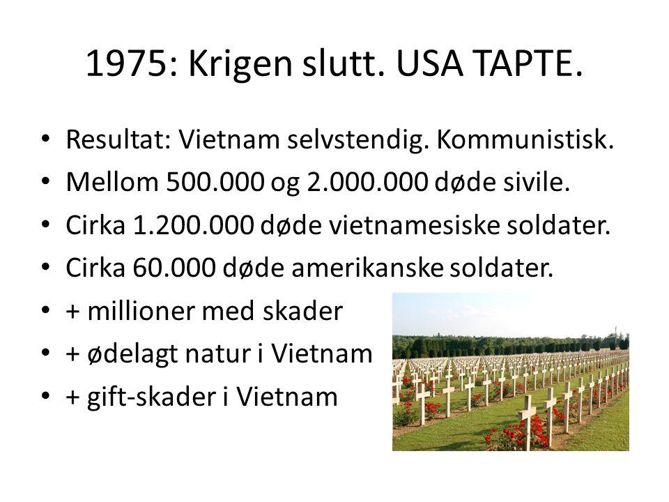 1975: Krigen slutt. USA TAPTE. Resultat: Vietnam selvstendig.