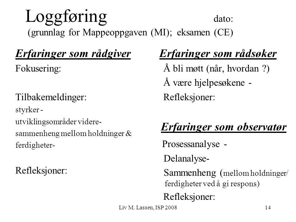 Liv M. Lassen, ISP 200814 Loggføring dato: (grunnlag for Mappeoppgaven (MI); eksamen (CE) Erfaringer som rådgiver Fokusering: Tilbakemeldinger: styrke