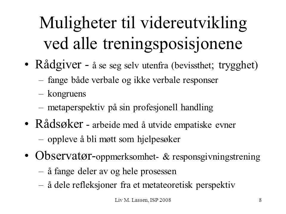 Liv M. Lassen, ISP 20088 Muligheter til videreutvikling ved alle treningsposisjonene Rådgiver - å se seg selv utenfra (bevissthet ; trygghet) –fange b