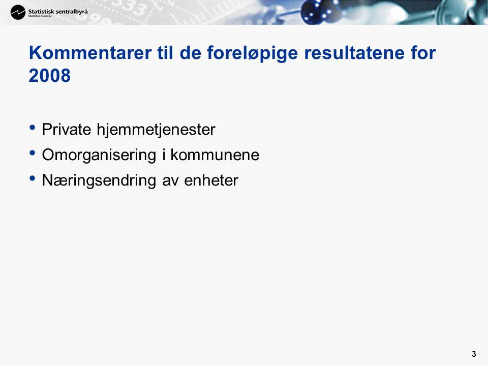 3 Kommentarer til de foreløpige resultatene for 2008 Private hjemmetjenester Omorganisering i kommunene Næringsendring av enheter
