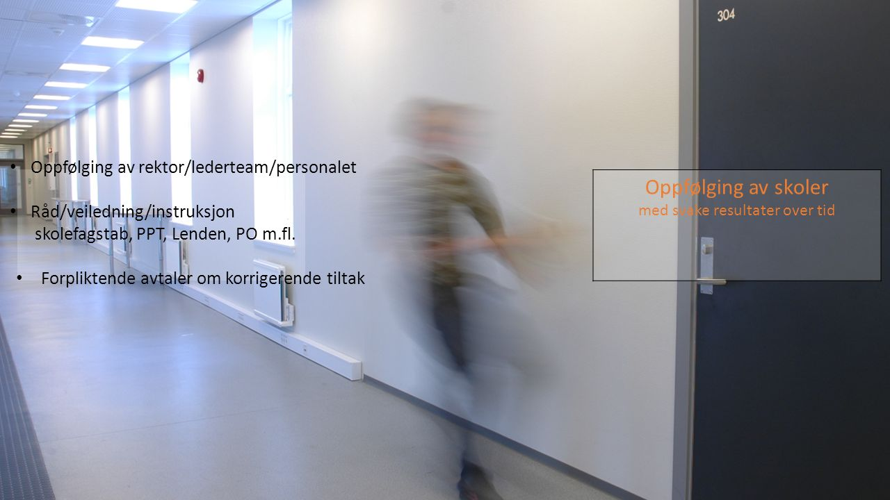 Oppfølging av skoler med svake resultater over tid Oppfølging av rektor/lederteam/personalet Råd/veiledning/instruksjon skolefagstab, PPT, Lenden, PO m.fl.