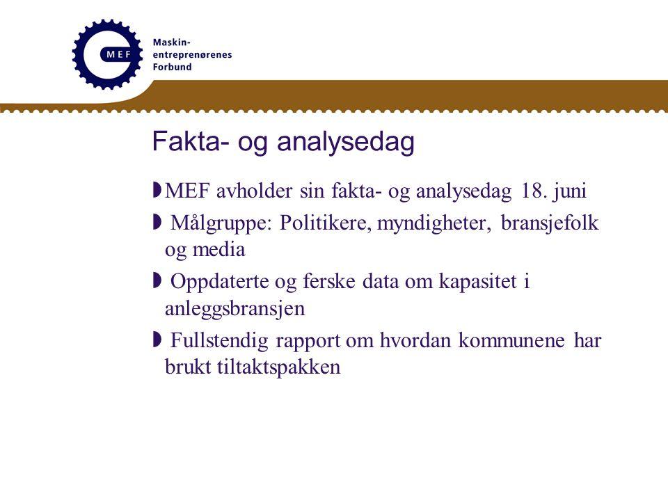 Fakta- og analysedag  MEF avholder sin fakta- og analysedag 18. juni  Målgruppe: Politikere, myndigheter, bransjefolk og media  Oppdaterte og fersk