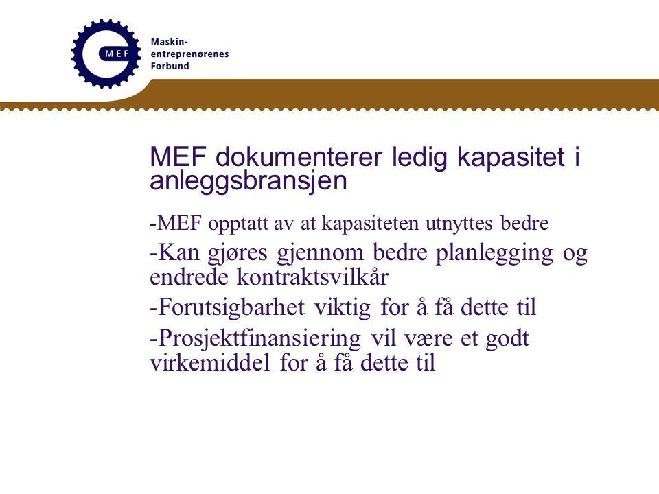 MEF dokumenterer ledig kapasitet i anleggsbransjen -MEF opptatt av at kapasiteten utnyttes bedre -Kan gjøres gjennom bedre planlegging og endrede kont