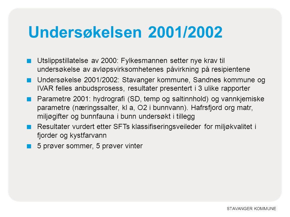 STAVANGER KOMMUNE Undersøkelsen 2001/2002 ■ Utslippstillatelse av 2000: Fylkesmannen setter nye krav til undersøkelse av avløpsvirksomhetenes påvirkni
