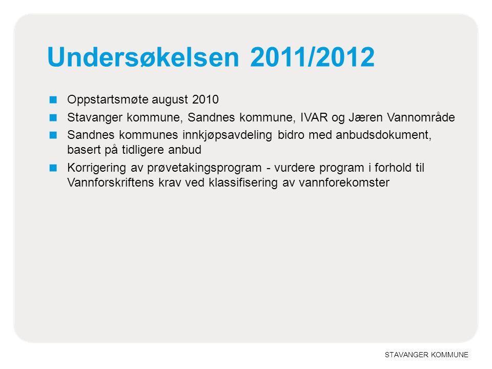 STAVANGER KOMMUNE Undersøkelsen 2011/2012 ■ Oppstartsmøte august 2010 ■ Stavanger kommune, Sandnes kommune, IVAR og Jæren Vannområde ■ Sandnes kommune