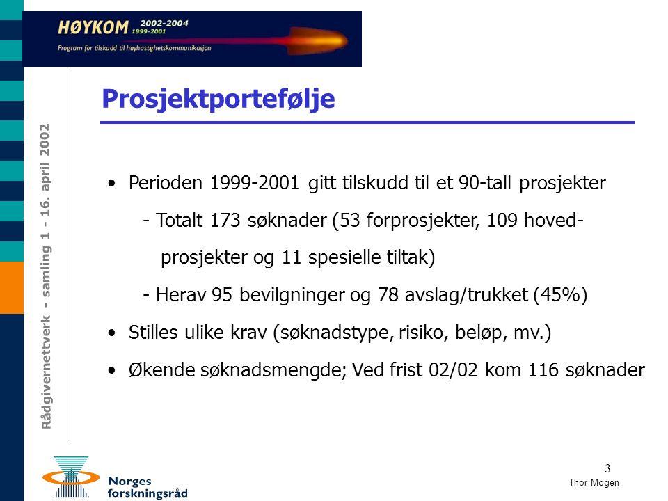 3 Prosjektportefølje Perioden 1999-2001 gitt tilskudd til et 90-tall prosjekter - Totalt 173 søknader (53 forprosjekter, 109 hoved- prosjekter og 11 s