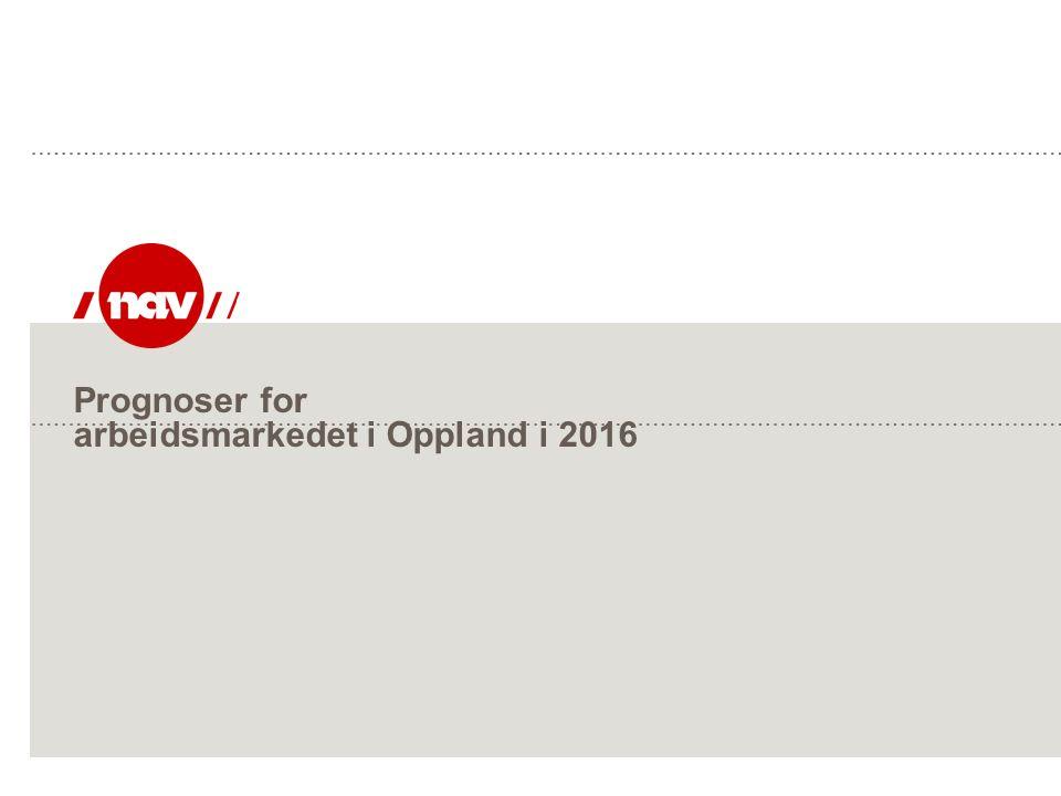 NAV, 26.09.2016Side 2 Prognose: Arbeidsledighet i 2015 - konklusjon: Antall registrerte helt ledige i prosent av arbeidsstyrken i Oppland:  2015: 2,1 % (ca 2065 personer)  2016: 2,2 % (ca 2165 personer)  Endring fra 2015 til 2016: 100 personer (5 %)