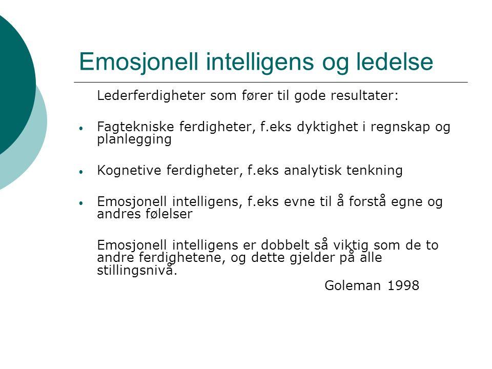Emosjonell intelligens og ledelse Lederferdigheter som fører til gode resultater: Fagtekniske ferdigheter, f.eks dyktighet i regnskap og planlegging Kognetive ferdigheter, f.eks analytisk tenkning Emosjonell intelligens, f.eks evne til å forstå egne og andres følelser Emosjonell intelligens er dobbelt så viktig som de to andre ferdighetene, og dette gjelder på alle stillingsnivå.