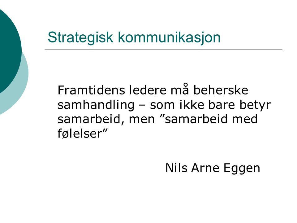 Strategisk kommunikasjon Framtidens ledere må beherske samhandling – som ikke bare betyr samarbeid, men samarbeid med følelser Nils Arne Eggen