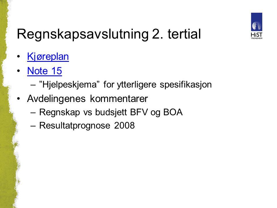 """Regnskapsavslutning 2. tertial Kjøreplan Note 15 –""""Hjelpeskjema"""" for ytterligere spesifikasjon Avdelingenes kommentarer –Regnskap vs budsjett BFV og B"""
