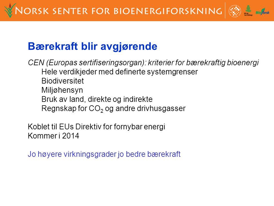CEN (Europas sertifiseringsorgan): kriterier for bærekraftig bioenergi Hele verdikjeder med definerte systemgrenser Biodiversitet Miljøhensyn Bruk av land, direkte og indirekte Regnskap for CO 2 og andre drivhusgasser Koblet til EUs Direktiv for fornybar energi Kommer i 2014 Jo høyere virkningsgrader jo bedre bærekraft Bærekraft blir avgjørende