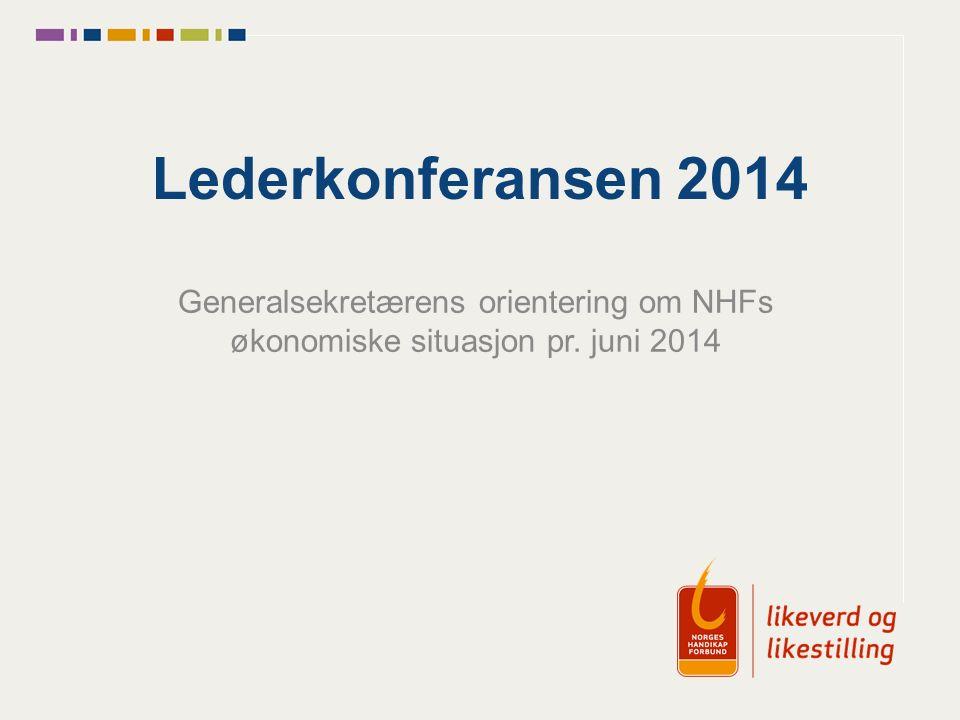 Lederkonferansen 2014 Generalsekretærens orientering om NHFs økonomiske situasjon pr. juni 2014