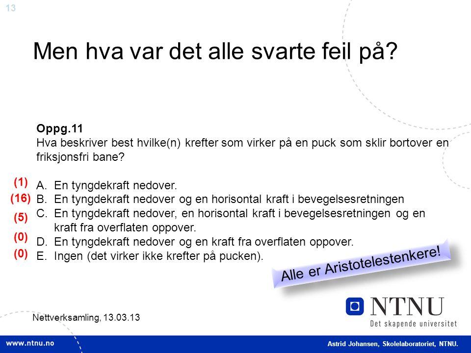 13 Men hva var det alle svarte feil på? Nettverksamling, 13.03.13 Oppg.11 Hva beskriver best hvilke(n) krefter som virker på en puck som sklir bortove