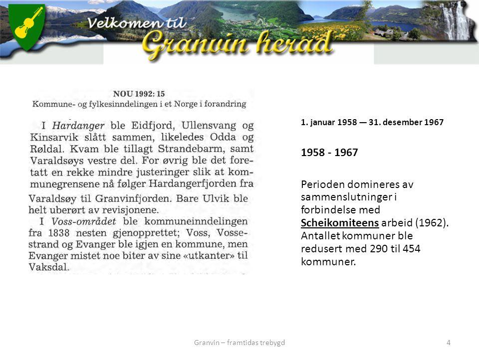 1. januar 1958 — 31. desember 1967 1958 - 1967 Perioden domineres av sammenslutninger i forbindelse med Scheikomiteens arbeid (1962). Antallet kommune