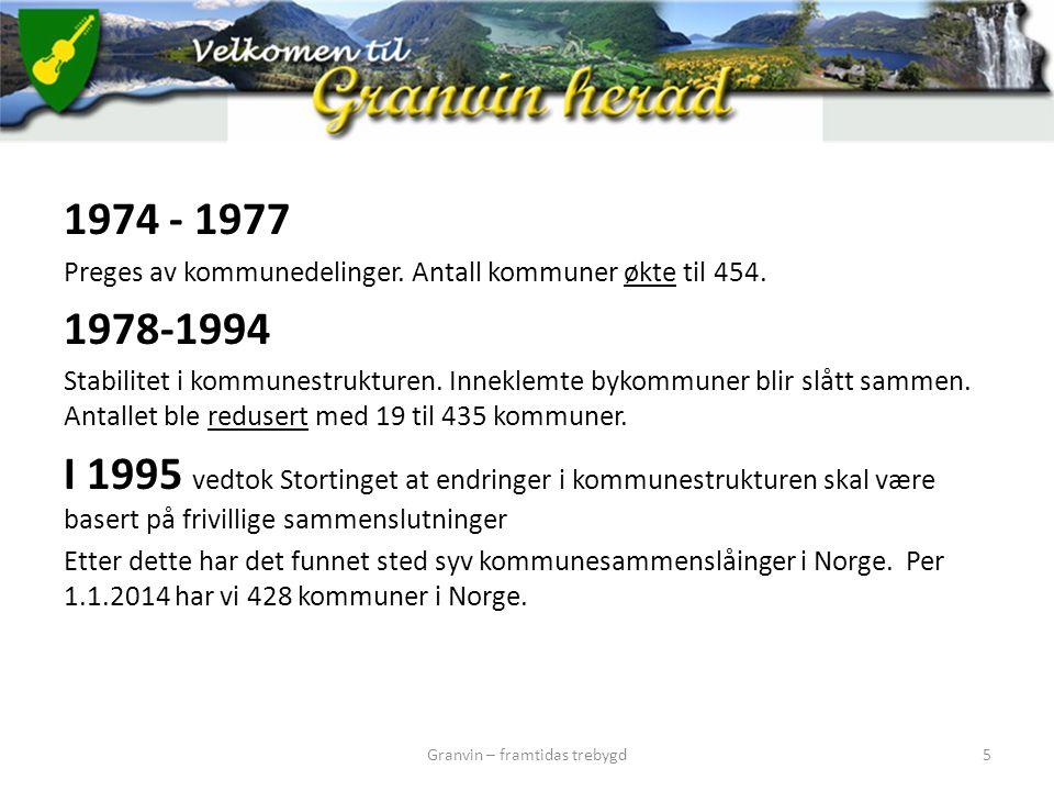 1974 - 1977 Preges av kommunedelinger. Antall kommuner økte til 454. 1978-1994 Stabilitet i kommunestrukturen. Inneklemte bykommuner blir slått sammen