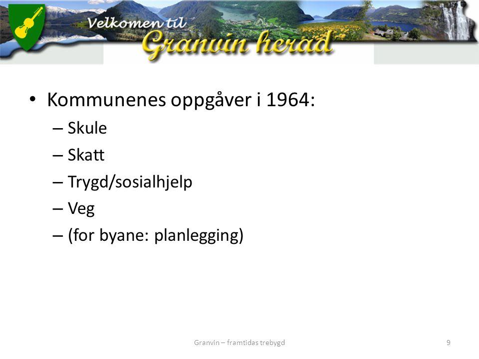 Kommunenes oppgåver i 1964: – Skule – Skatt – Trygd/sosialhjelp – Veg – (for byane: planlegging) Granvin – framtidas trebygd9