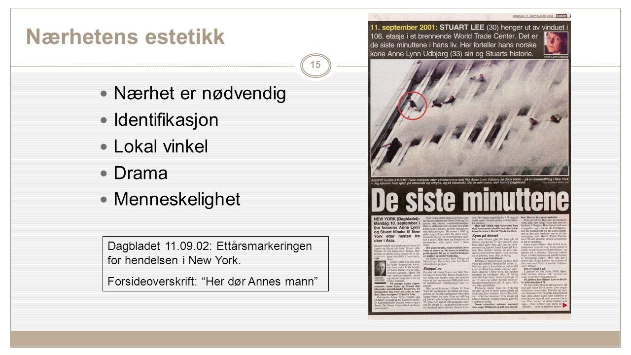 Nærhetens estetikk Nærhet er nødvendig Identifikasjon Lokal vinkel Drama Menneskelighet 15 Dagbladet 11.09.02: Ettårsmarkeringen for hendelsen i New York.