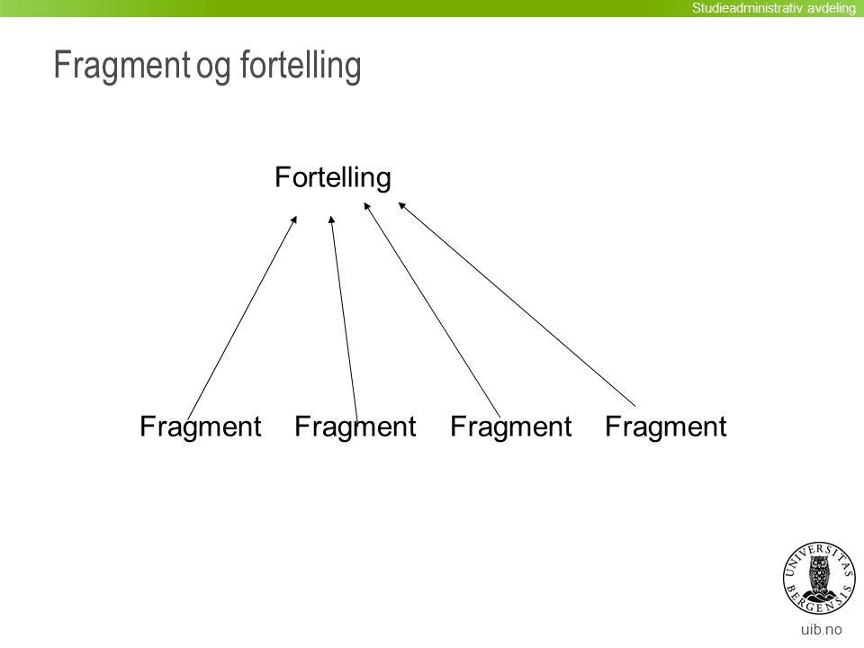 uib.no Fragment og fortelling Fortelling Fragment Fragment Fragment Fragment Studieadministrativ avdeling